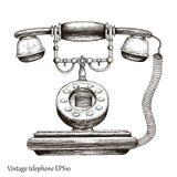Estilo da gravura do desenho da mão do telefone do vintage, telefone retro Initi Fotografia de Stock Royalty Free