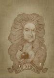 Estilo da gravura do retrato do sepia de Isaac Newton Fotos de Stock Royalty Free