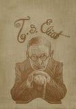 Estilo da gravura do sepia da caricatura de Thomas Eliot Imagem de Stock Royalty Free
