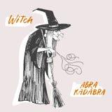 Estilo da gravura Linha ilustração da tinta para Dia das Bruxas A bruxa conjura Fotos de Stock