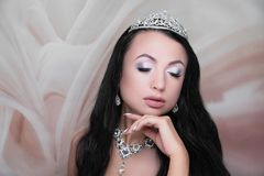 Estilo da noiva da cara da beleza da mulher fotografia de stock royalty free