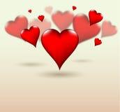 Estilo da profundidade do campo dos corações de Valentine Love Imagens de Stock Royalty Free