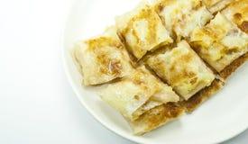 Estilo da sobremesa do roti fritado com banana para dentro imagens de stock