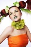 Estilo de cabelo com flores. Fotos de Stock Royalty Free
