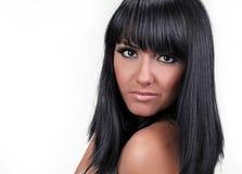 Estilo de cabelo preto da mulher nova, retrato Imagens de Stock