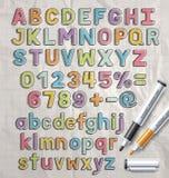 Estilo de fuente colorido del garabato del marcador del alfabeto Imágenes de archivo libres de regalías