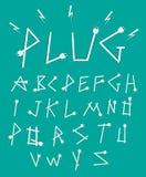 Estilo de fuente de los alfabetos del enchufe Foto de archivo