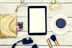 Estilo de Instagram Maqueta de la moda con los accesorios a de la señora del negocio Fotos de archivo