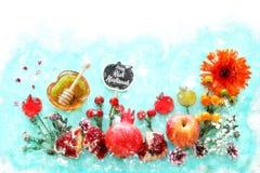 Estilo de la acuarela e imagen abstracta del concepto judío del día de fiesta del Año Nuevo del hashanah de Rosh Símbolos tradici Imagen de archivo libre de regalías