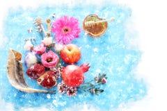 Estilo de la acuarela e imagen abstracta del concepto judío del día de fiesta del Año Nuevo del hashanah de Rosh Símbolos tradici Fotografía de archivo libre de regalías