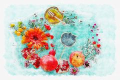 Estilo de la acuarela e imagen abstracta del concepto judío del día de fiesta del Año Nuevo del hashanah de Rosh Símbolos tradici Foto de archivo libre de regalías
