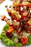 Estilo de la comida fría del shashlik de los pescados Fotos de archivo libres de regalías