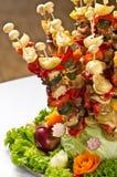 Estilo de la comida fría del shashlik de los pescados Imagen de archivo libre de regalías