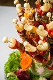 Estilo de la comida fría del shashlik de los pescados Foto de archivo libre de regalías