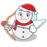 Estilo de la historieta del carácter del muñeco de nieve del cupido stock de ilustración