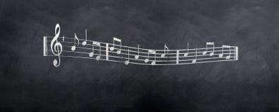 Estilo de la hoja de las notas musicales Foto de archivo