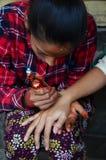 Estilo de la India de Mehndi o de la alheña en Nepal Imagenes de archivo