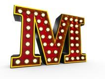Estilo de la letra M 3D Broadway stock de ilustración