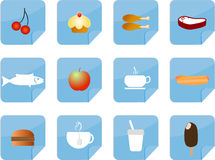 Estilo de la nota de los iconos del alimento Fotografía de archivo libre de regalías