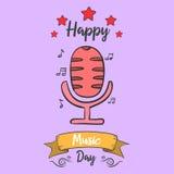 Estilo de la tarjeta del día de la música de la colección