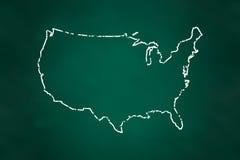 Estilo de la tiza de la frontera del mapa de los E.E.U.U. stock de ilustración