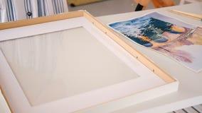 Estilo de las ilustraciones del artista de la pintura de la acuarela que enmarca metrajes