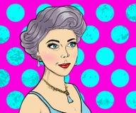 Estilo de los cómic de las mujeres en fondo rosado Muchacha de portada de revista Top model del vector Ejemplo del arte pop Fotos de archivo