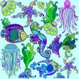 Estilo de Marine Life Exotic Fishes & do Ornamental dos cavalos marinhos ilustração stock