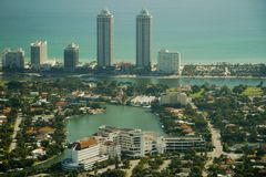 Vista aérea da cidade de Miami Fotos de Stock Royalty Free