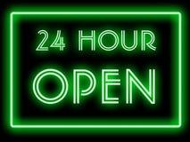 Estilo de néon 24 horas aberto Fotografia de Stock
