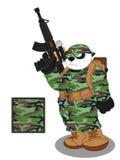 Estilo 1 de Panda Soldier ilustração royalty free