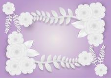 Estilo de papel da arte das flores com videiras em um fundo roxo Ilustração do vetor Foto de Stock Royalty Free