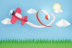 Estilo de papel da arte da fita do coração com voo plano cor-de-rosa no céu, projeto da rendição 3D imagem de stock royalty free