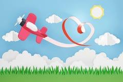 Estilo de papel da arte da fita do coração com voo plano cor-de-rosa no céu, projeto da rendição 3D fotos de stock