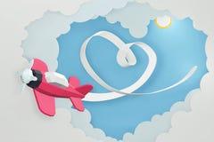 Estilo de papel da arte da fita do coração com voo plano cor-de-rosa no céu, projeto da rendição 3D fotografia de stock royalty free