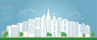 Estilo de papel da arte para o fundo arquitetónico da construção e da arquitetura da cidade Imagens de Stock Royalty Free