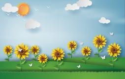 Estilo de papel del arte del girasol con la estación de verano del paisaje s azul Imagen de archivo libre de regalías
