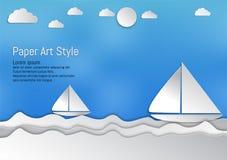 Estilo de papel del arte, ondas con el velero y nubes, ejemplo del vector