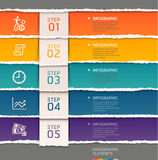 Estilo de papel rasgado plantilla abstracta del infographics