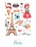 Estilo de París del ejemplo de la acuarela stock de ilustración