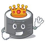 Estilo de personagem de banda desenhada do sushi do rei Imagem de Stock Royalty Free