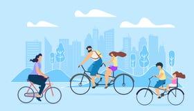 Estilo de vida ativo da cidade Os povos montam em bicicletas ilustração royalty free