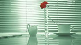 Estilo de vida Casa tabla de cristal con un libro, una taza de té y leche en la ventana del fondo la mano sostiene una flor en a almacen de video