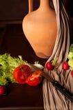 Estilo de vida flamengo no fundo marrom Fotos de Stock Royalty Free