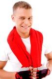 Estilo de vida - homem com toalha e uniforme do gm Foto de Stock