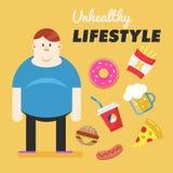 Estilo de vida insalubre Conceito do estilo de vida insalubre Homem gordo e seus hábitos maus Ilustração do vetor Foto de Stock