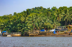 Estilo de vida na ilha de Chorao, Goa, Índia Barco velho para o transporte em Salim Ali Bird Sanctuary Imagens de Stock