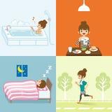 Estilo de vida saudável ajustado - jovens mulheres ilustração stock