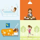 Estilo de vida saudável ajustado - mulher de negócios ilustração stock
