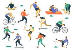 Estilo de vida saudável ativo dos jovens Patins de rolo, corredor, bicicleta, corrida, caminhada, ioga Elemento do projeto colori ilustração royalty free